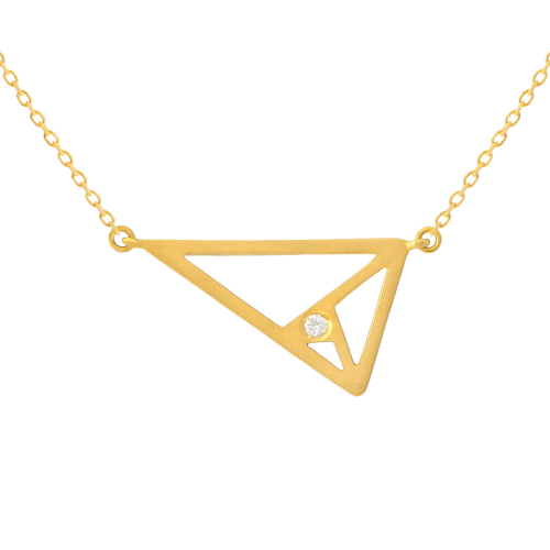 triangle mociun opal pendant necklace pink